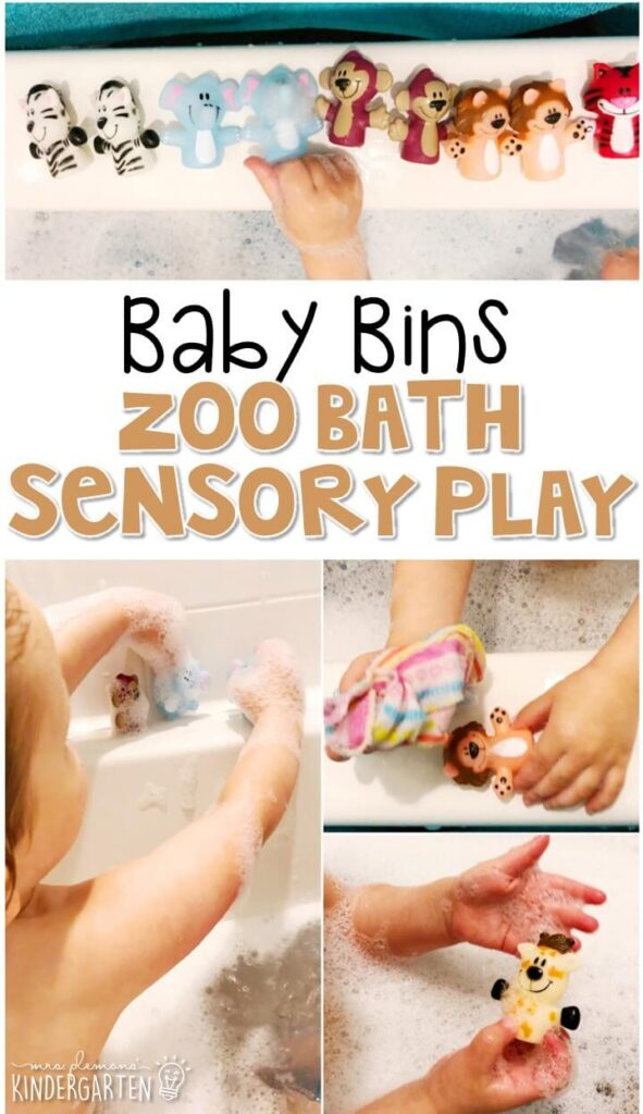 This zoo sensory bath is a fun way to expand sensory play beyond the regular sensory bin and is completely baby safe. These Baby Bin plans are perfect for learning with little ones between 12-24 months old.