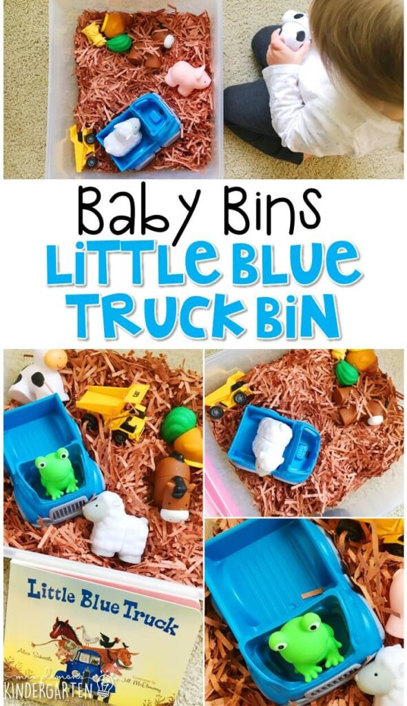 This little blue truck sensory bin is great for learning colors and is completely baby safe. These Baby Bin plans are perfect for learning with little ones between 12-24 months old.