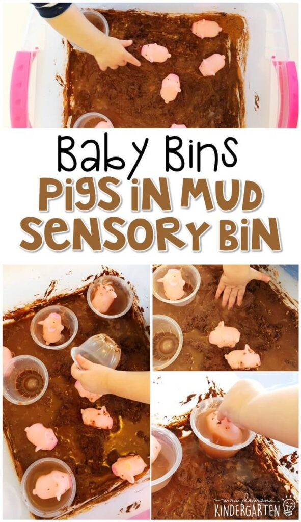 This pigs in mud sensory bin is great for learning about the color brown and is completely baby safe. These Baby Bin plans are perfect for learning with little ones between 12-24 months old.