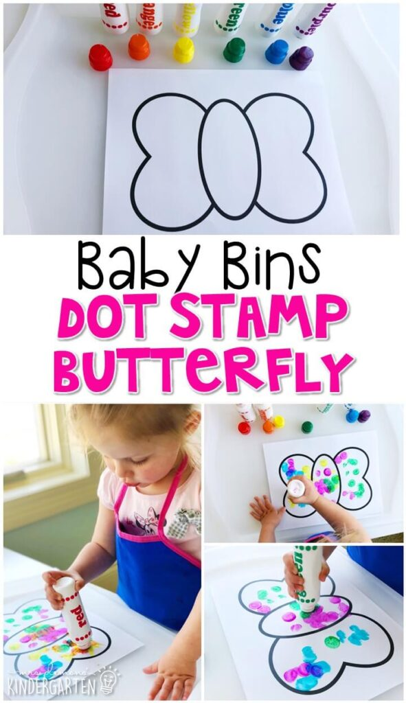 This dot stamp butterfly activity is great for fine motor practice and always turns out adorable. Baby Bins are perfect for learning with little ones between 12-24 months old.