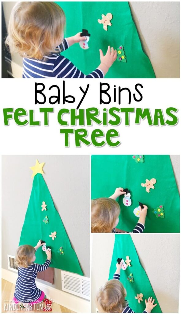 This felt Christmas tree is one of our favorite Christmas traditions for our holiday theme and is a completely baby safe way to work on fine motor skills. These Baby Bin plans are perfect for learning with little ones between 12-24 months old.