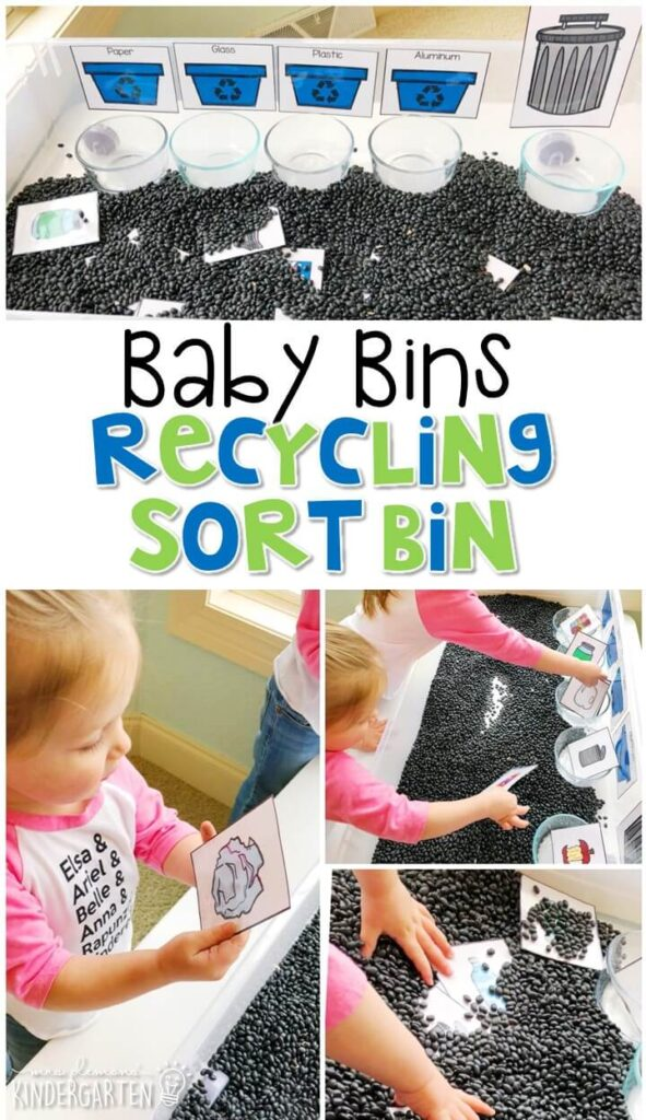 This recycling sort sensory bin is great for practicing sorting with an Earth Day theme and is completely baby safe. These Baby Bin plans are perfect for learning with little ones between 12-24 months old.
