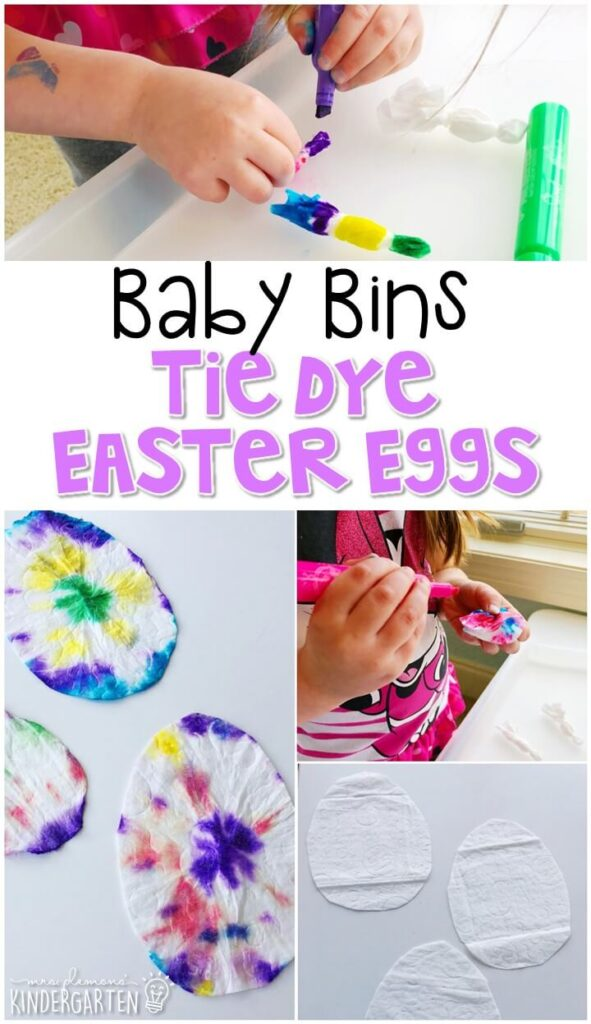 This Easter tie dye egg activity is great for fine motor practice and always turns out adorable. Baby Bins are perfect for learning with little ones between 12-24 months old.