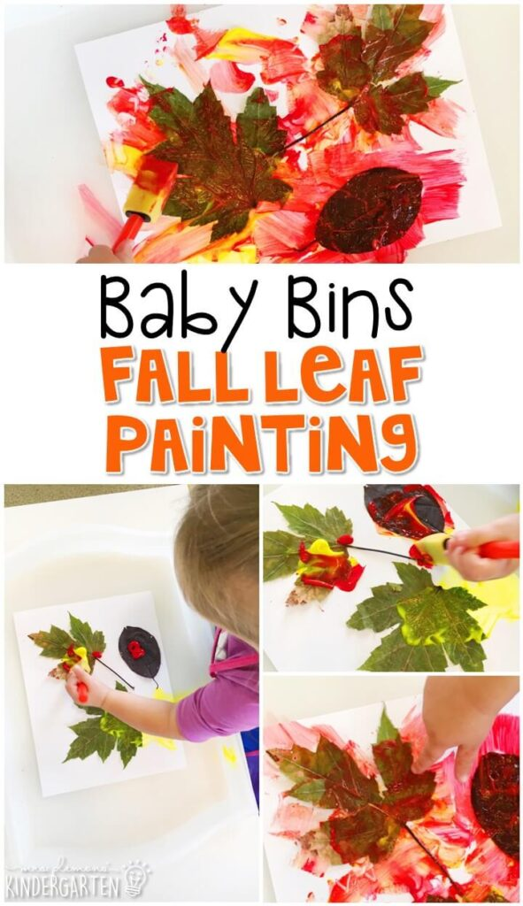 This fall leaf painting activity is great for learning about fall and is a completely baby safe way to paint. Baby Bins are perfect for learning with little ones between 12-24 months old.