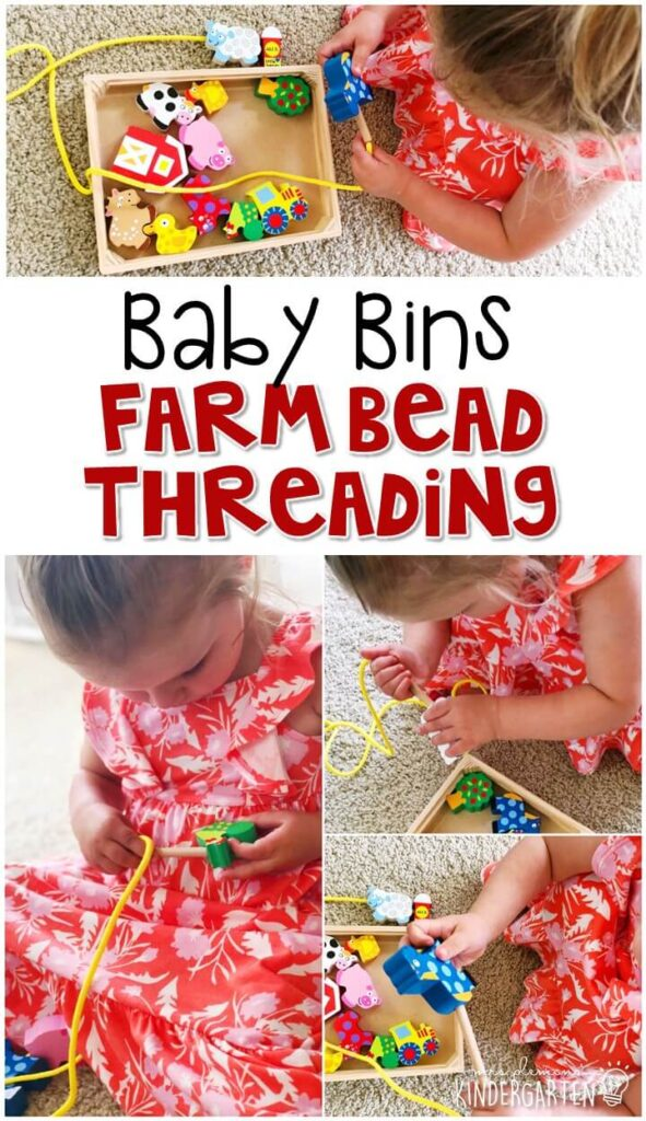 This farm bead threading activity is such a simple way to work on fine motor skills with a farm theme. Baby Bins are perfect for learning with little ones between 12-24 months old.