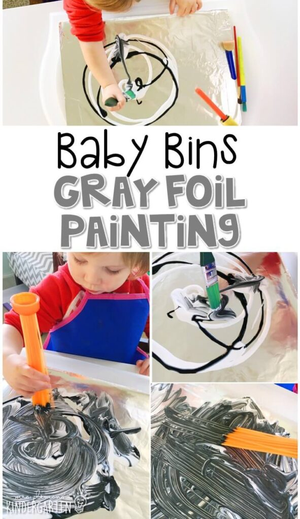This gray foil painting activity is great for building fine motor skills and is a completely baby safe way to paint with little ones. Baby Bins are perfect for learning with little ones between 12-24 months old.