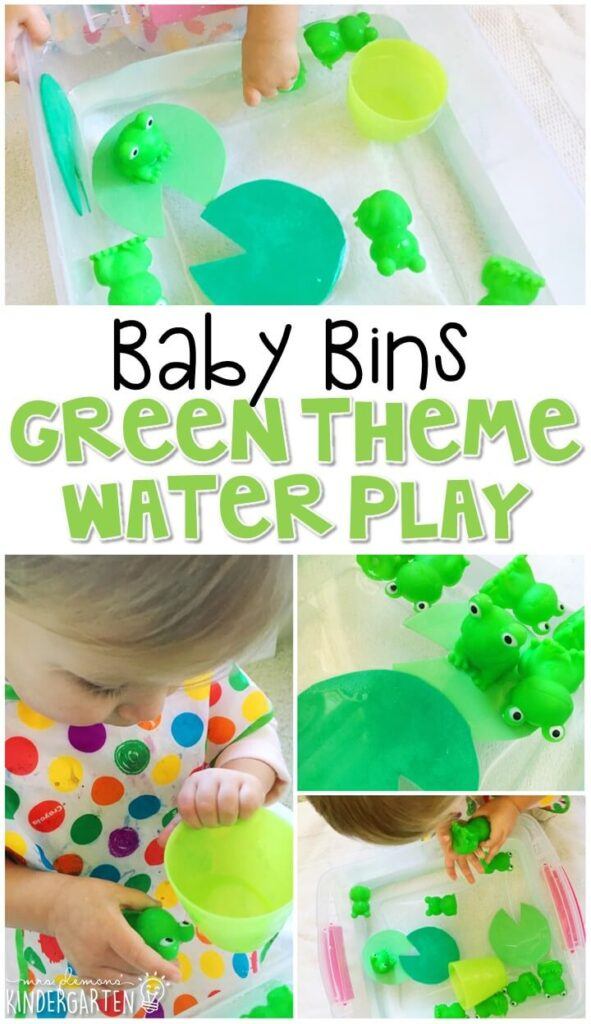 This green themed water play sensory bin is great for learning the color green and is completely baby safe. These Baby Bin plans are perfect for learning with little ones between 12-24 months old.