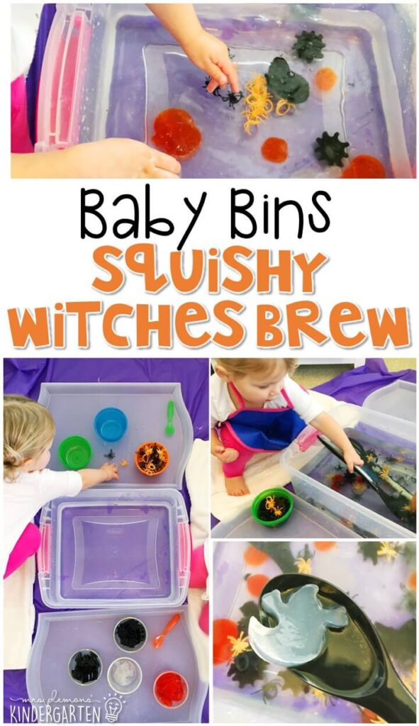 This Squishy Witches Brew sensory bin is great for a Halloween theme and is completely baby safe. These Baby Bin plans are perfect for learning with little ones between 12-24 months old.