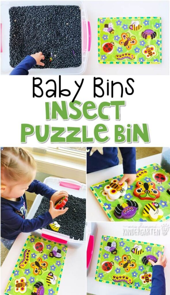 This insect puzzle bin is great for an insect theme and is a completely baby safe (and fun tasty!) way to work on fine motor skills. These Baby Bin plans are perfect for learning with little ones between 12-24 months old.