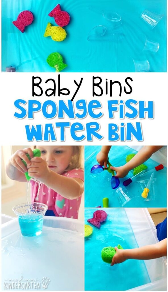 We love water sensory bins, so this sponge fish sensory bin was a favorite! It is great for learning about the ocean and is completely baby safe. These Baby Bin plans are perfect for learning with little ones between 12-24 months old