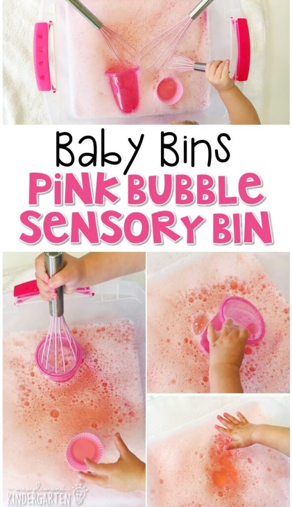 This pink bubble themed sensory bin is great for learning colors and is completely baby safe. These Baby Bin plans are perfect for learning with little ones between 12-24 months old.