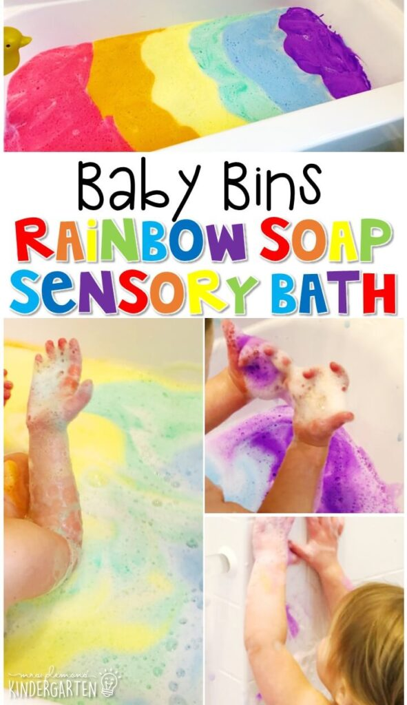 This rainbow soap sensory bath is great for building exploring colors and is completely baby safe. These Baby Bin plans are perfect for learning with little ones between 12-24 months old.