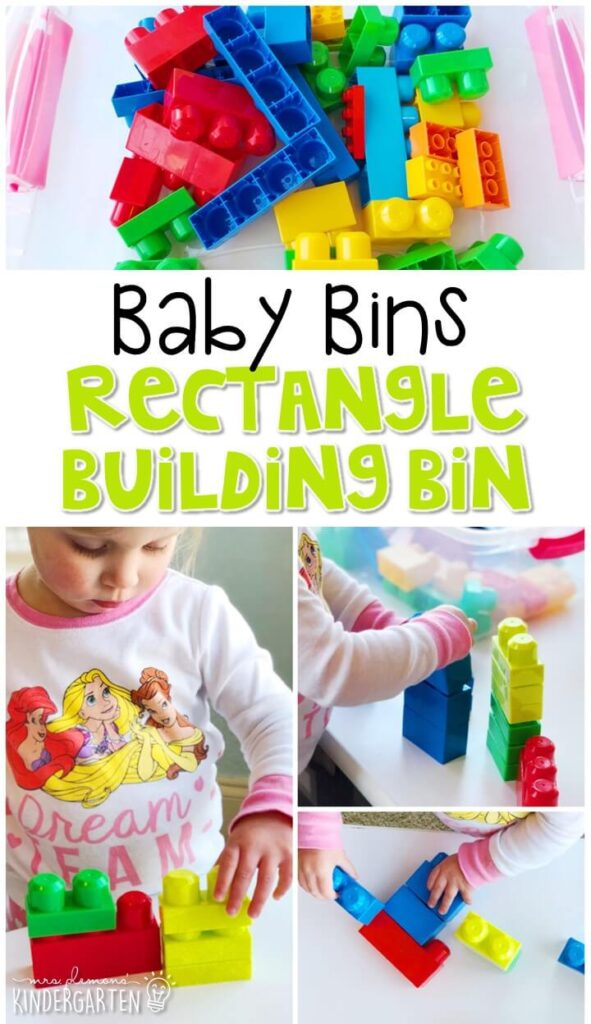This rectangle building bin is great for learning shapes and is completely baby safe. These Baby Bin plans are perfect for learning with little ones between 12-24 months old.