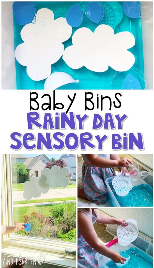 We love water sensory bins, so this rainy day sensory bin was a favorite! It is great for learning about spring and is completely baby safe. These Baby Bin plans are perfect for learning with little ones between 12-24 months old