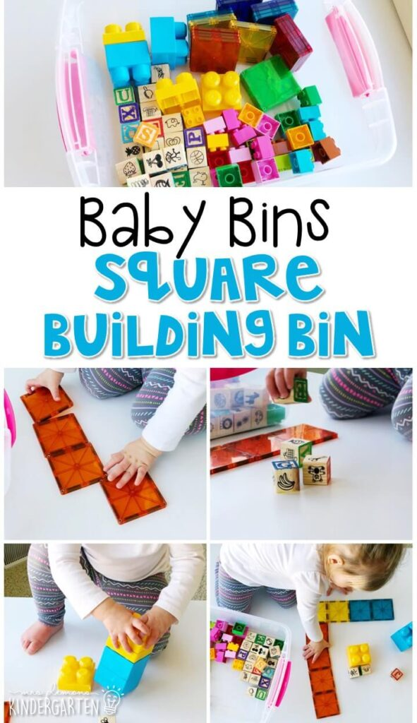 This square building sensory bin is great for learning shapes and is completely baby safe. These Baby Bin plans are perfect for learning with little ones between 12-24 months old.