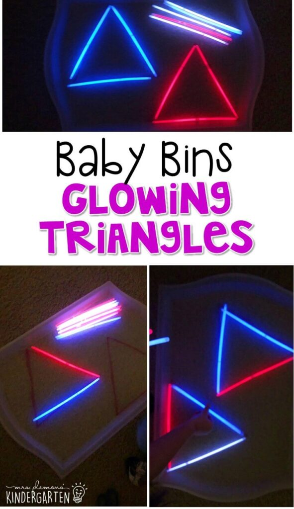 This glowing triangle sensory bin is great for learning shapes and is completely baby safe. These Baby Bin plans are perfect for learning with little ones between 12-24 months old.