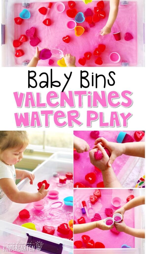 This Valentines water play sensory bin is great for exploring the holiday and is completely baby safe. These Baby Bin plans are perfect for learning with little ones between 12-24 months old.