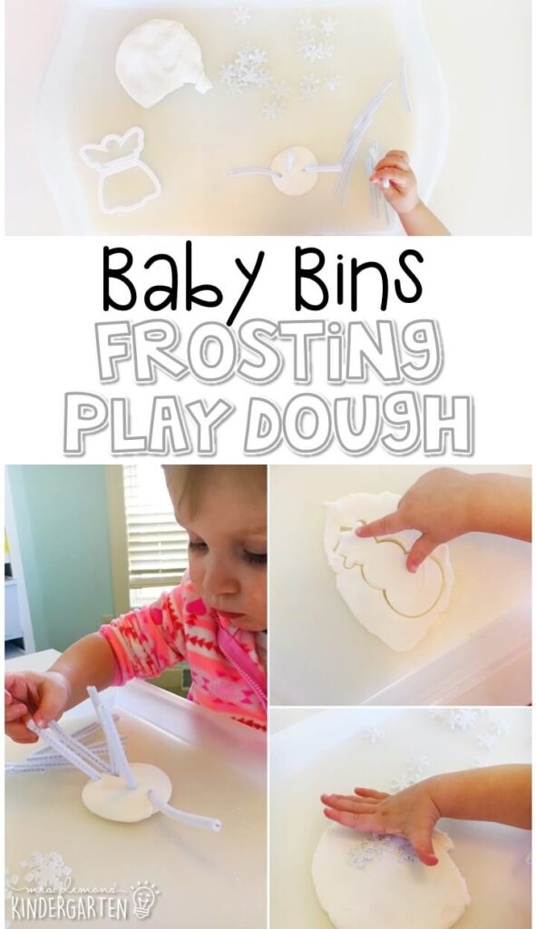 This frosting play dough smells fantastic, has the best texture and is great for building fine motor skills while being completely baby/taste safe. These Baby Bin plans are perfect for learning with little ones between 12-24 months old.
