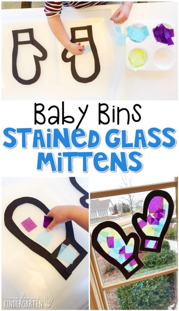 This stained glass mitten activity is great for fine motor practice and always turns out adorable. Baby Bins are perfect for learning with little ones between 12-24 months old.