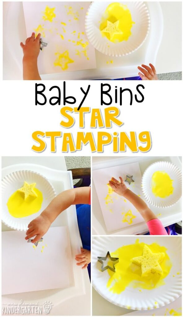 This taste safe star stamping is great for learning the color yellow and is a completely baby safe way to paint. Baby Bins are perfect for learning with little ones between 12-24 months old.