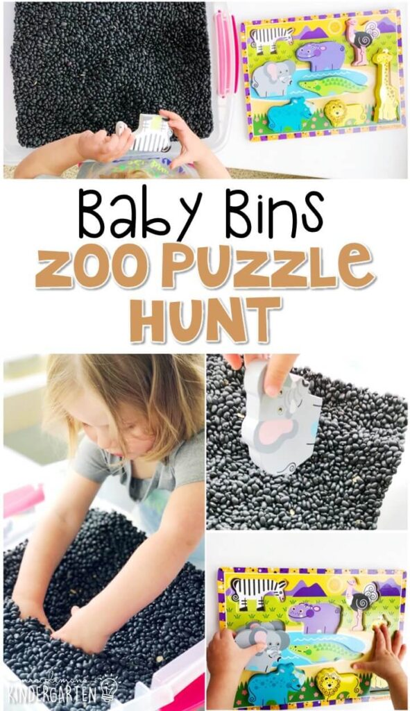 This zoo puzzle hunt sensory bin is a great way to get new life out of your puzzles and make them exciting again. These Baby Bin plans are perfect for learning with little ones between 12-24 months old.