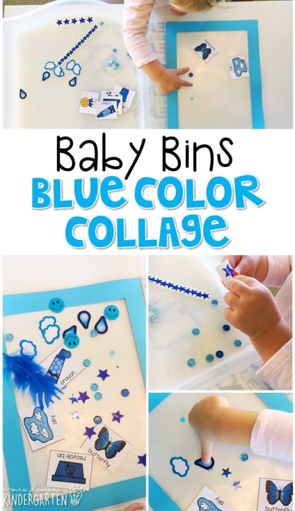This blue color collage is great for learning the color red and it is a completely baby safe craft. Plus there's no glue required so no sticky mess or glue eating to clean up! Baby Bins are perfect for learning with little ones between 12-24 months old.