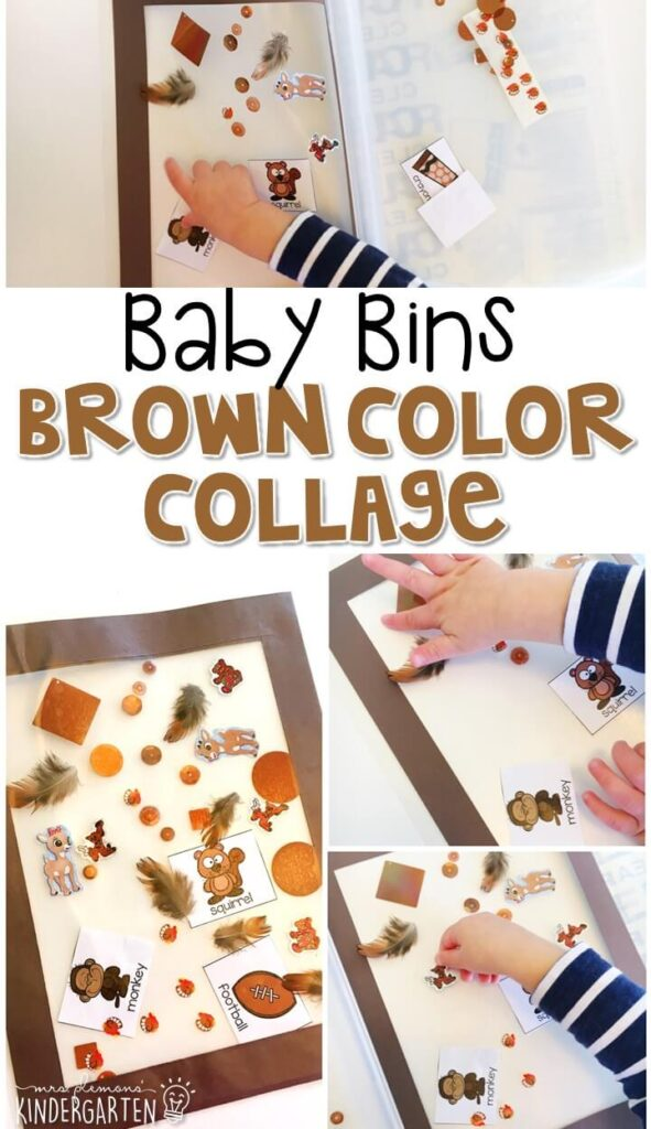 This brown color collage is great for learning the color brown and it is a completely baby safe craft. Plus there's no glue required so no sticky mess or glue eating to clean up! Baby Bins are perfect for learning with little ones between 12-24 months old.