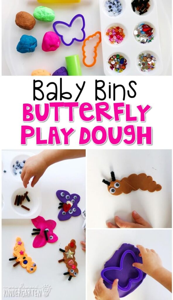 This butterfly play dough tray is a fun way to pretend, build and explore with a butterfly theme while working on fine motor skills. These Baby Bin plans are perfect for learning with little ones between 12-24 months old.