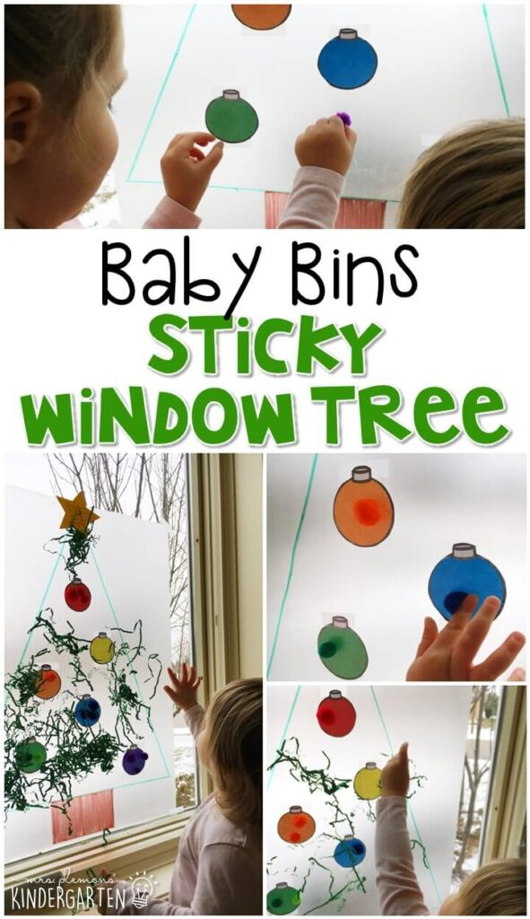 This sticky window Christmas tree activity is great for a Christmas theme and is a completely baby safe way to build fine motor skills as well as begin to identify colors. These Baby Bin plans are perfect for learning with little ones between 12-24 months old.