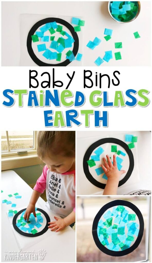 This stained glass Earth activity is great for fine motor practice and turns out so pretty. Baby Bins are perfect for learning with little ones between 12-24 months old.