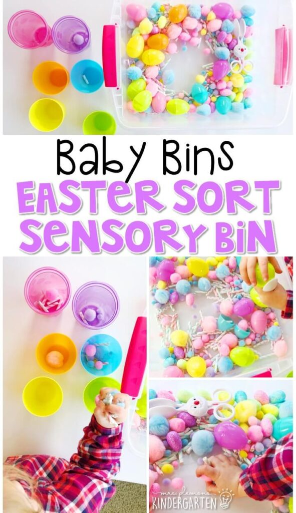 This Easter egg sorting sensory bin is a fun way to play and practice sorting by color with an Easter theme and is completely baby safe. These Baby Bin plans are perfect for learning with little ones between 12-24 months old.