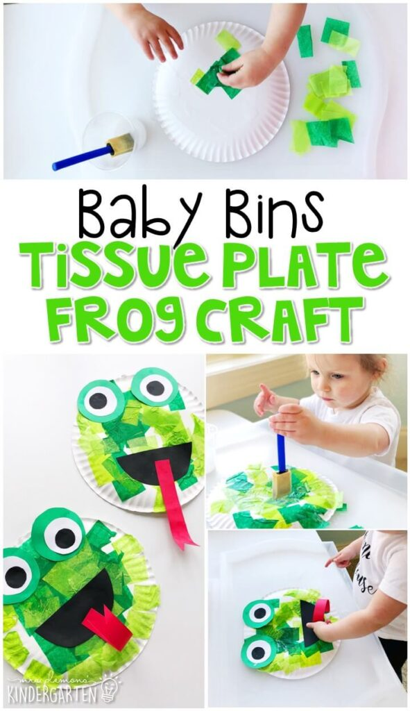 This tissue paper frog craft activity is great for fine motor practice and always turns out adorable. Baby Bins are perfect for learning with little ones between 12-24 months old.