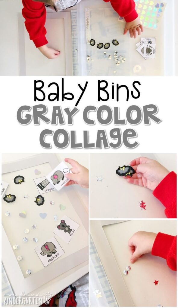 This gray color collage is great for learning the color gray and it is a completely baby safe craft. Plus there's no glue required so no sticky mess or glue eating to clean up! Baby Bins are perfect for learning with little ones between 12-24 months old.