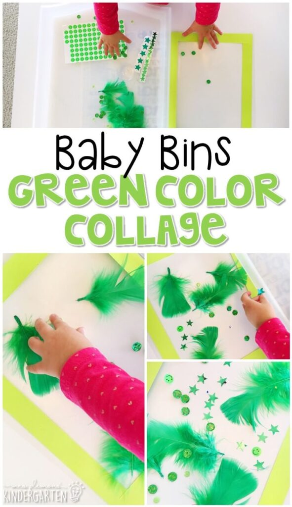 This green color collage is great for learning the color green and it is a completely baby safe craft. Plus there's no glue required so no sticky mess or glue eating to clean up! Baby Bins are perfect for learning with little ones between 12-24 months old.
