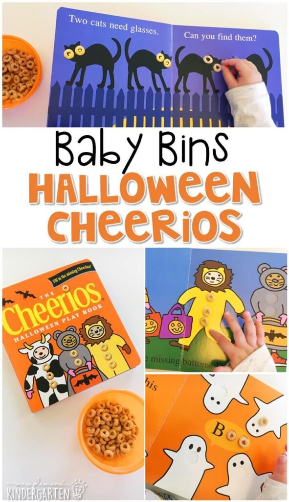 This Cheerios Halloween Play Book is great for a Halloween theme and is a completely baby safe (and fun tasty!) way to work on fine motor skills. These Baby Bin plans are perfect for learning with little ones between 12-24 months old.