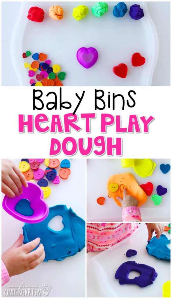 This heart play dough activity is great for building fine motor skills and is a completely baby safe way to introduce shapes. Baby Bins are perfect for learning with little ones between 12-24 months old.