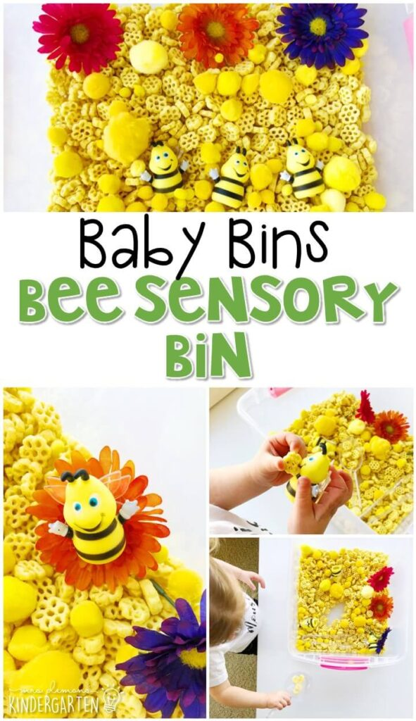 This bee sensory activity is great for an insect theme and is a completely baby safe way to build fine motor skills. These Baby Bin plans are perfect for learning with little ones between 12-24 months old.