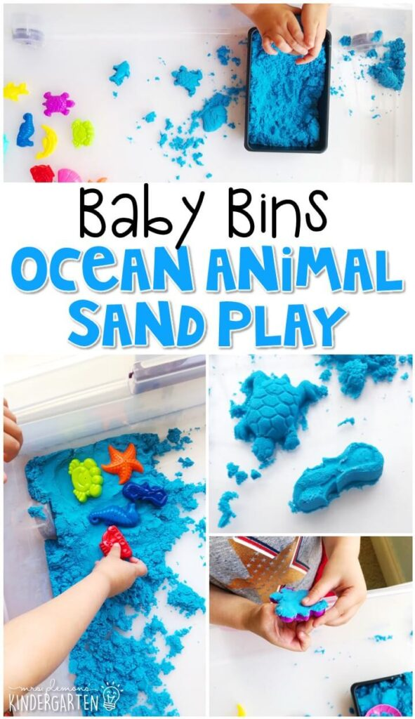 This ocean animal sand sensory bin is so much fun to explore with an ocean theme and is completely baby safe. These Baby Bin plans are perfect for learning with little ones between 12-24 months old