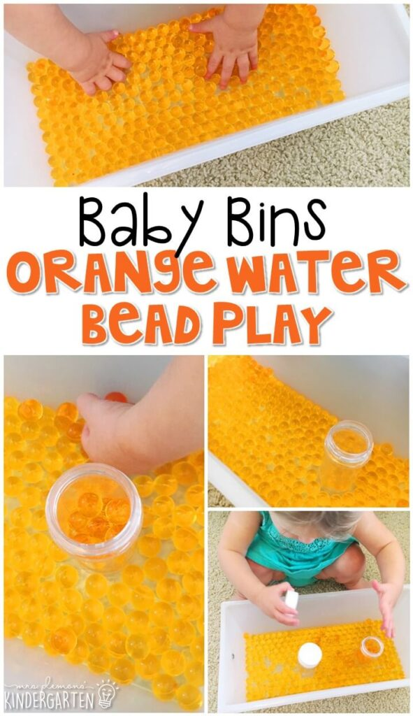 This orange water bead activity is great for learning the color orange and it is a completely baby safe way to paint. Baby Bins are perfect for learning with little ones between 12-24 months old.