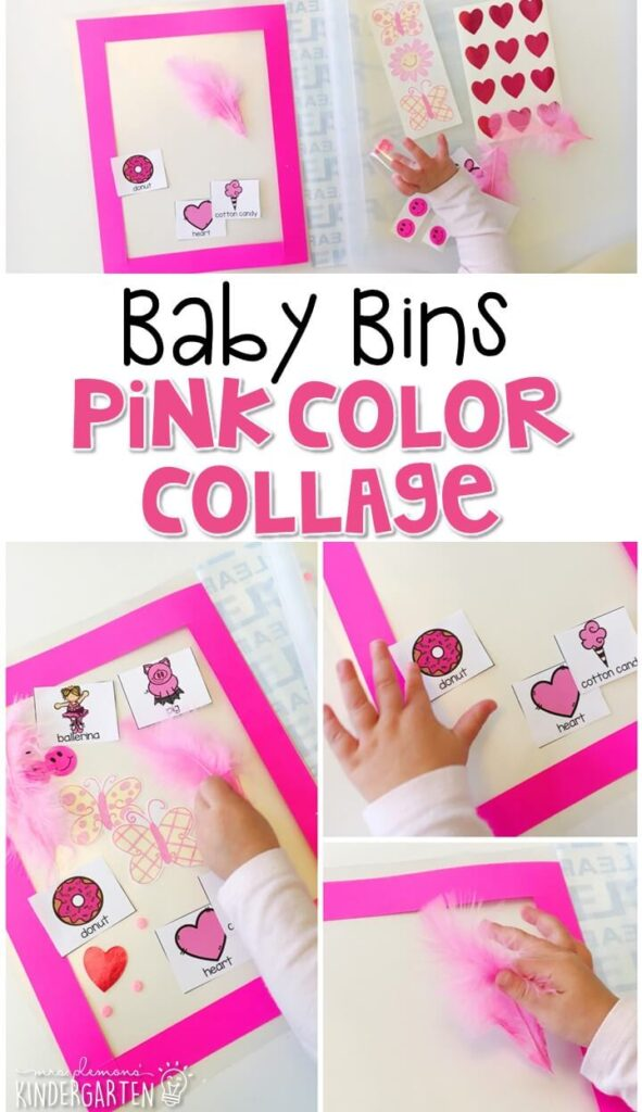 This pink color collage is great for learning the color pink and it is a completely baby safe craft. Plus there's no glue required so no sticky mess or glue eating to clean up! Baby Bins are perfect for learning with little ones between 12-24 months old.