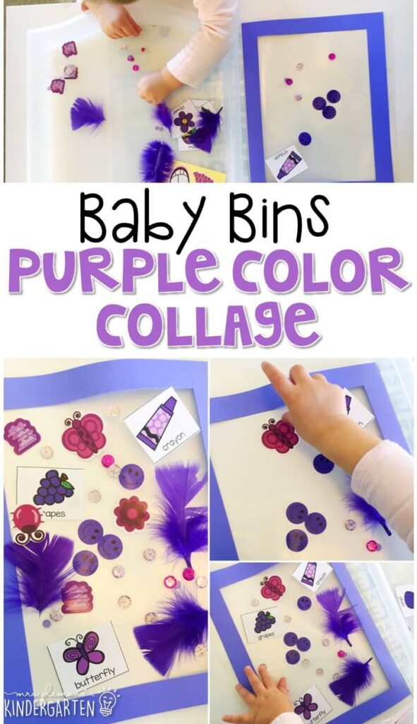 This purple color collage is great for learning the color purple and it is a completely baby safe craft. Plus there's no glue required so no sticky mess or glue eating to clean up! Baby Bins are perfect for learning with little ones between 12-24 months old.