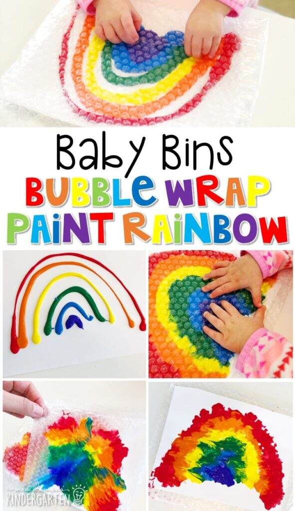This rainbow bubble wrap painting activity is great for building fine motor skills and is a completely baby safe way to paint with little ones. Baby Bins are perfect for learning with little ones between 12-24 months old.