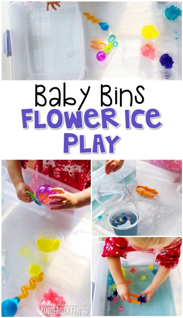 This flower ice play sensory bin is so much fun to explore with a spring theme and is completely baby safe. These Baby Bin plans are perfect for learning with little ones between 12-24 months old