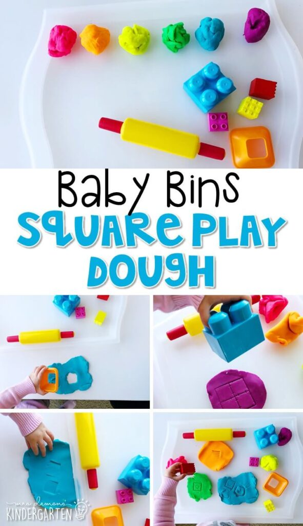 This square play dough activity is great for building fine motor skills and is a completely baby safe way to introduce shapes. Baby Bins are perfect for learning with little ones between 12-24 months old.