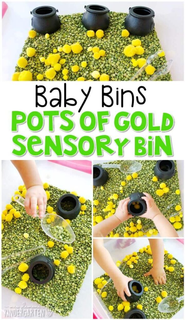 This pots of gold sensory bin is fun to scoop, dump, play, and explore for a St. Patrick's Day theme and is completely baby safe. These Baby Bin plans are perfect for learning with little ones between 12-24 months old.