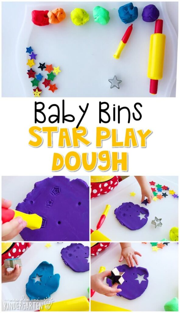 This star play dough activity is great for building fine motor skills and is a completely baby safe way to introduce shapes. Baby Bins are perfect for learning with little ones between 12-24 months old.