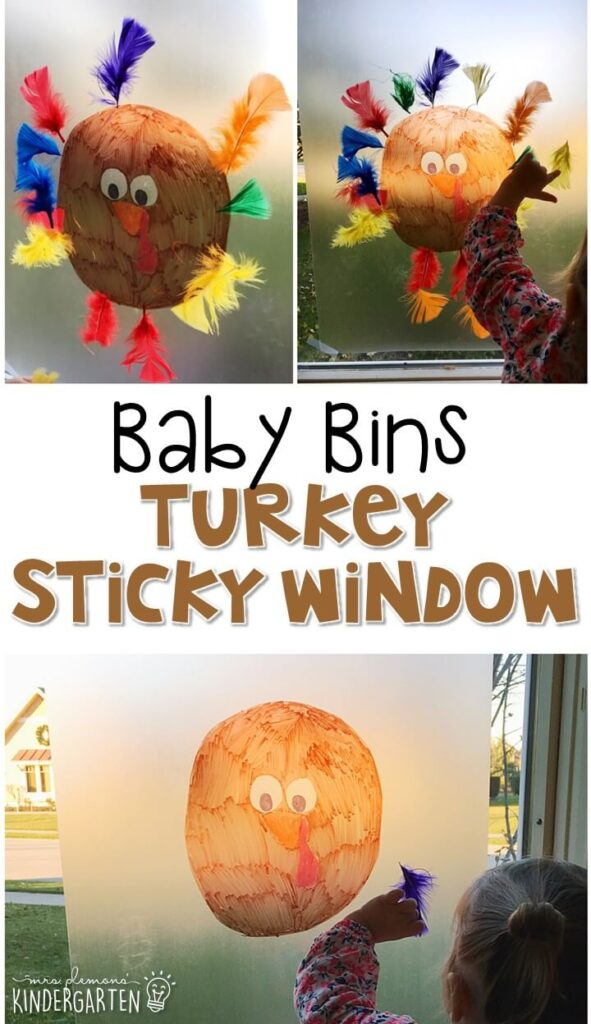 This turkey sticky window activity is great for a Thanksgiving theme and is completely baby safe. These Baby Bin plans are perfect for learning with little ones between 12-24 months old.