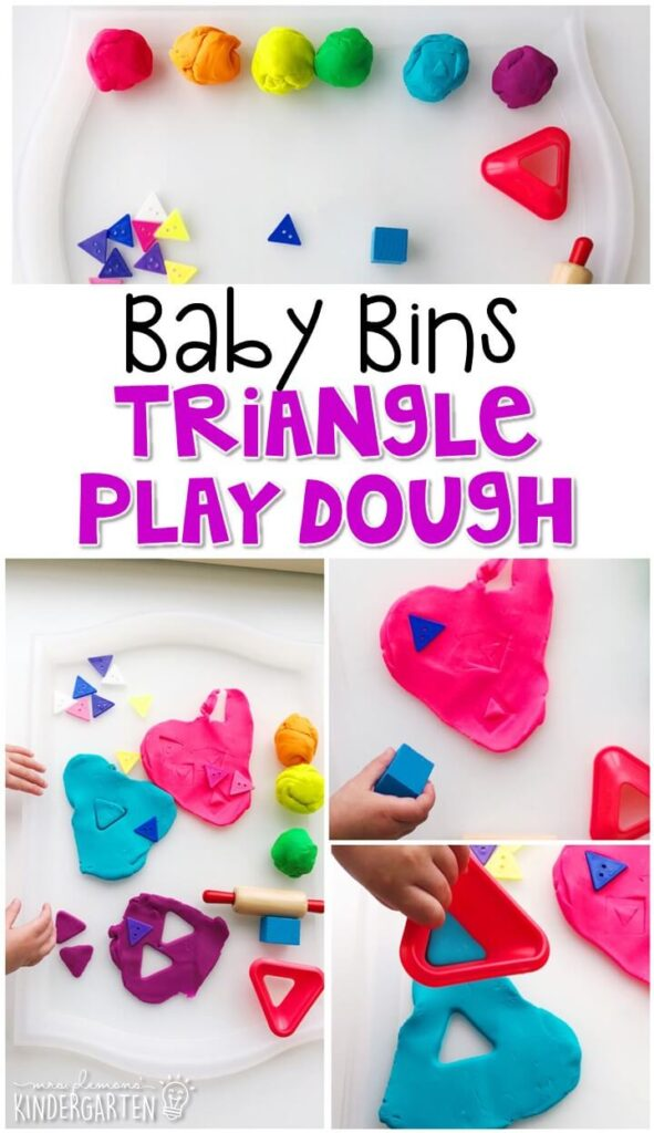 This triangle play dough activity is great for building fine motor skills and is a completely baby safe way to introduce shapes. Baby Bins are perfect for learning with little ones between 12-24 months old.
