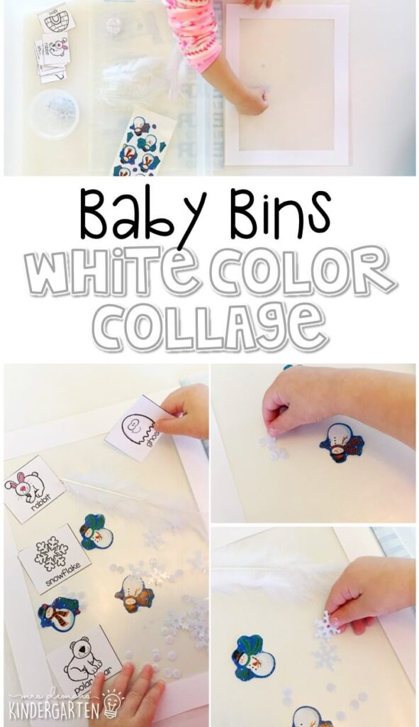 This white color collage is great for learning the color white and it is a completely baby safe craft. Plus there's no glue required so no sticky mess or glue eating to clean up! Baby Bins are perfect for learning with little ones between 12-24 months old.