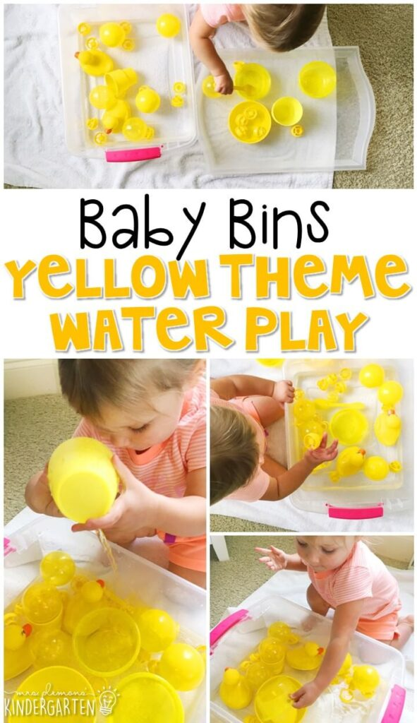 This yellow theme water play sensory bin is great for learning the color yellow and it is completely baby safe. Baby Bins are perfect for learning with little ones between 12-24 months old.